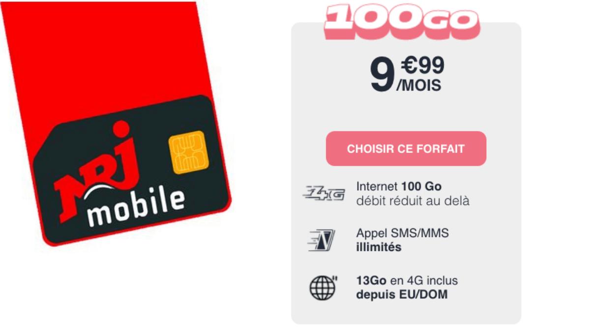 Promotion sur le forfait 100 Go NRJ Mobile