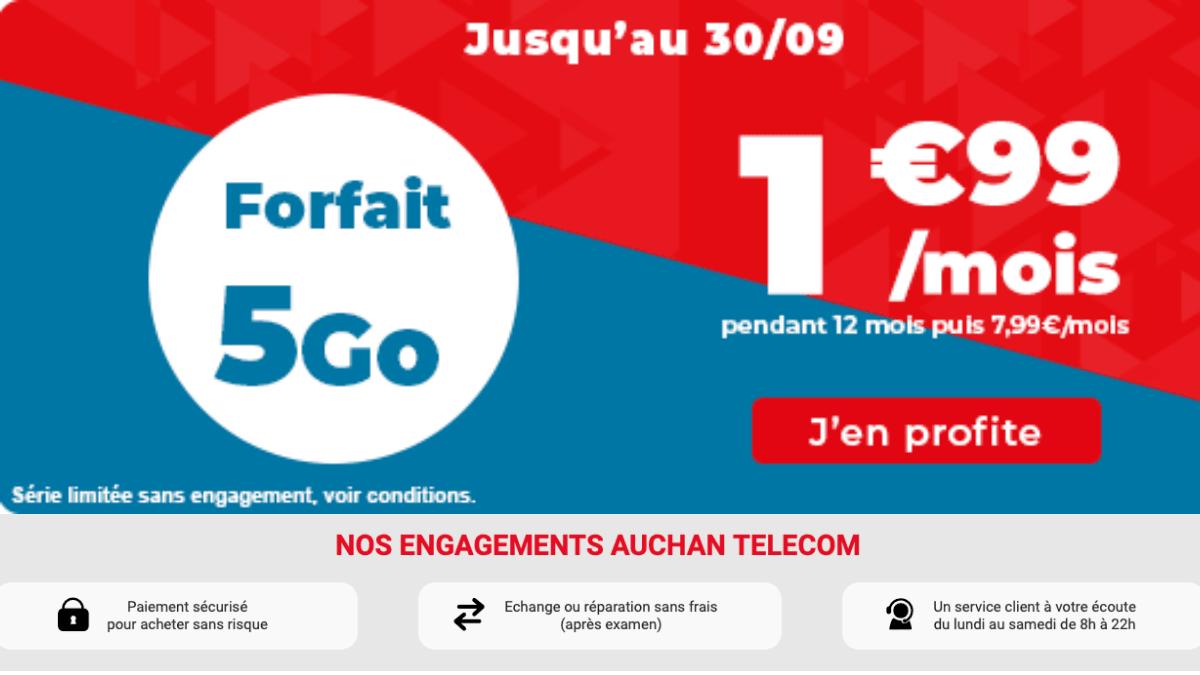 Auchan télécom et son forfait à moins de 5 euros
