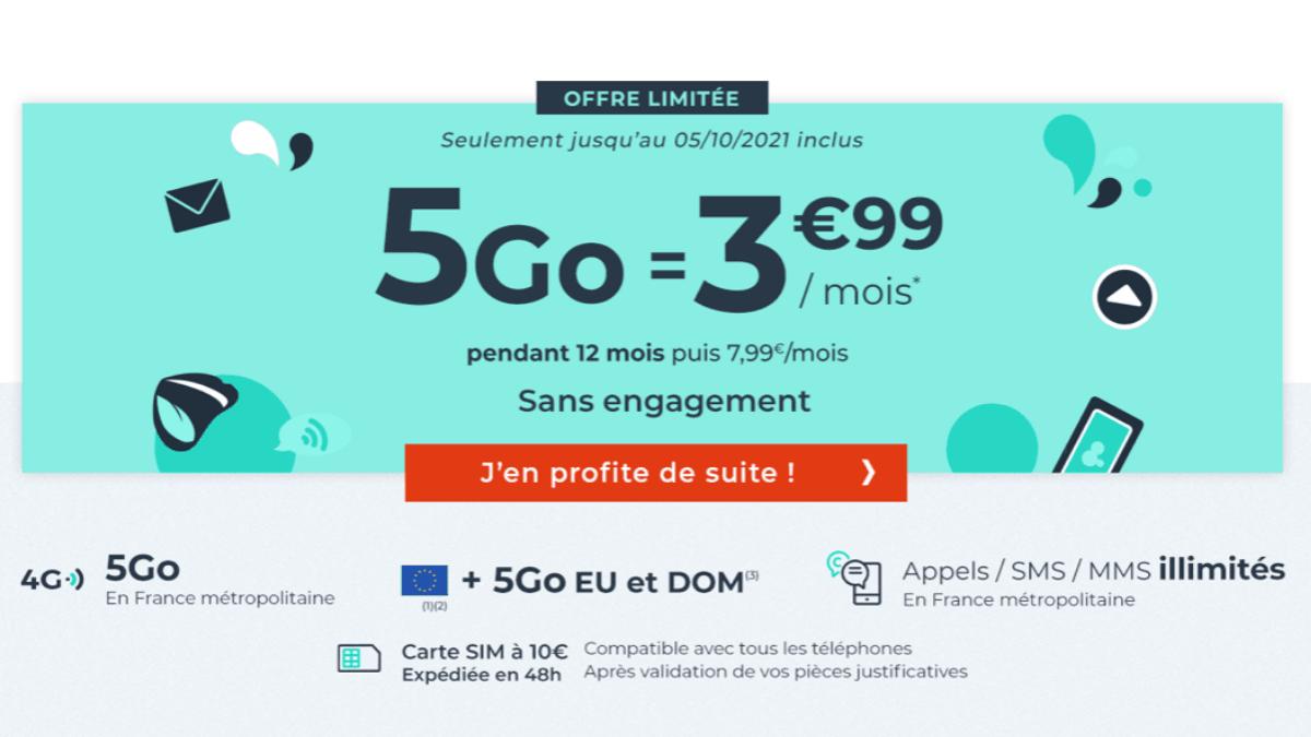 Le forfait à moins de 5 euros de Cdiscount Mobile
