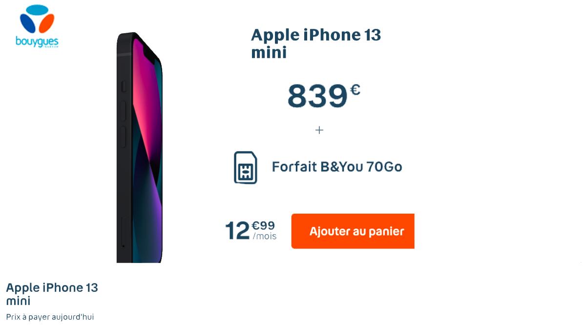 iPhone 13 Mini disponible chez BYou, avec une surprise