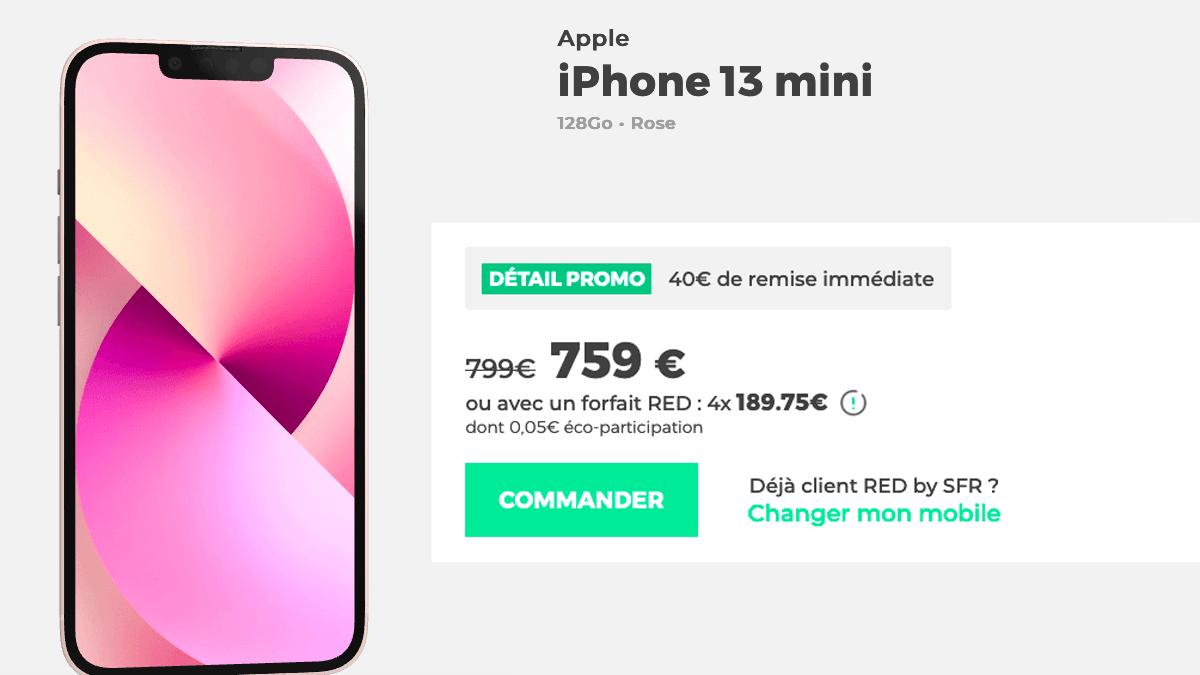 iPhone 13 mini avec RED, une promotion de 40€