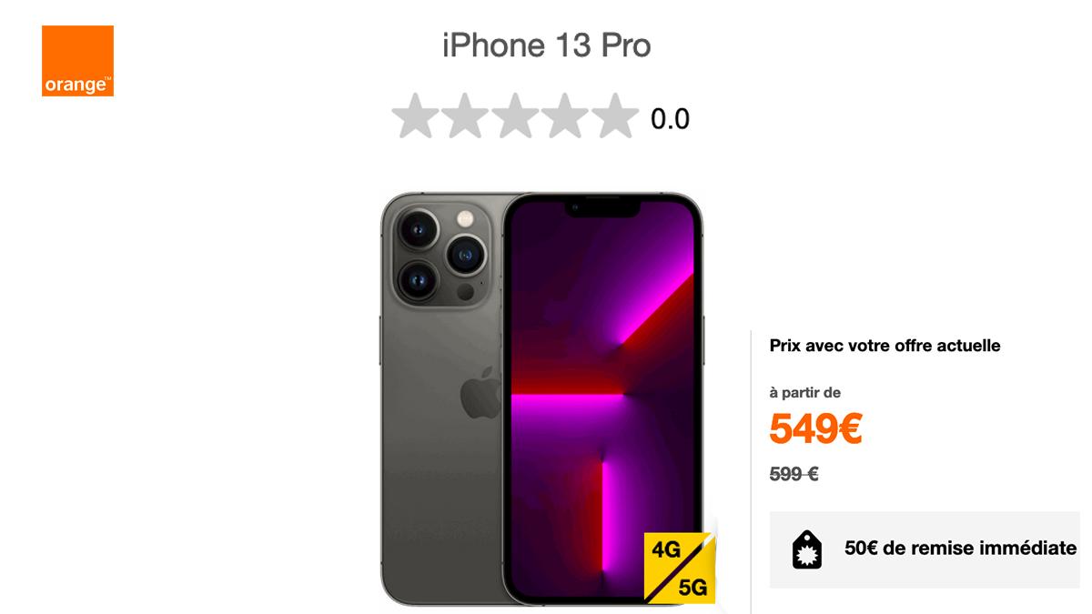 L'iPhone 13 Pro est disponible chez Orange au prix de 549€