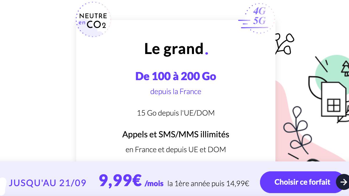 Le forfait mobile 200 Go en 4G de Prixtel