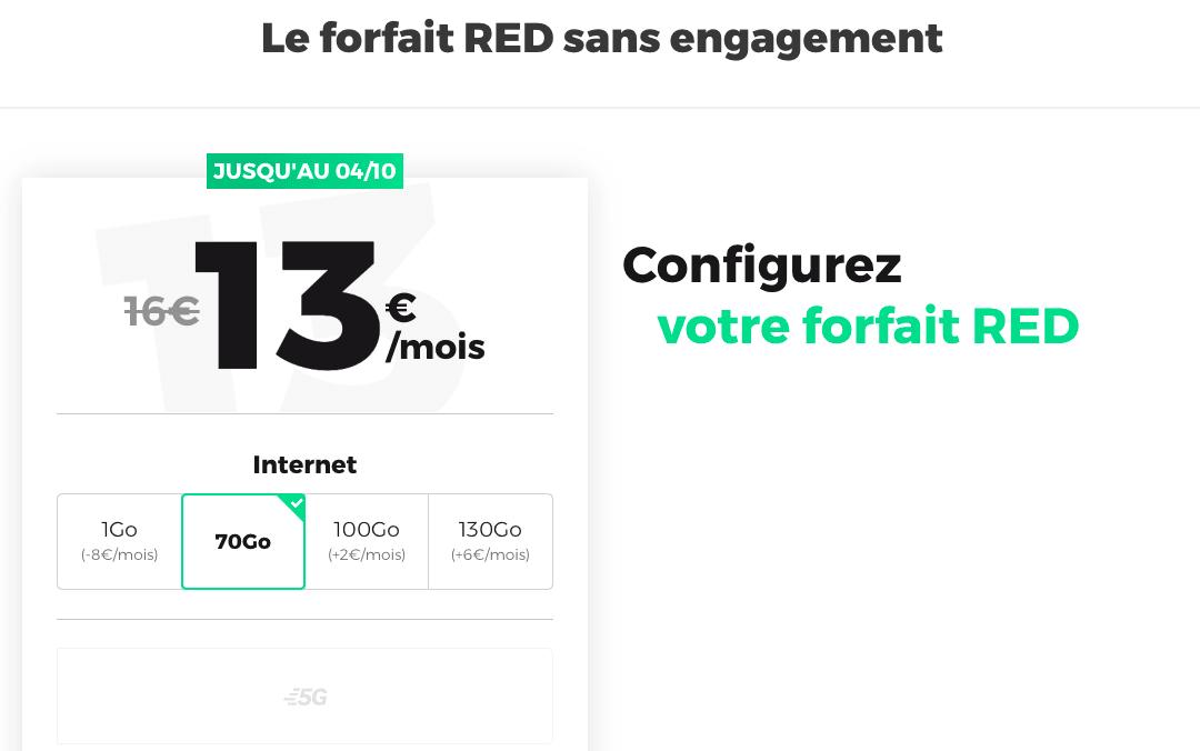 Les nouveaux forfaits RED by SFR et l'offre mobile 70 Go
