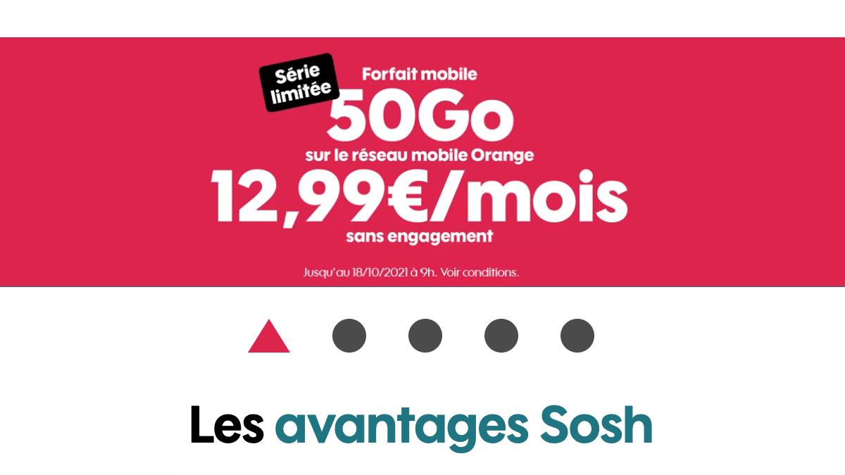 Les nouvelles offres Sosh avec le forfait mobile 50 Go