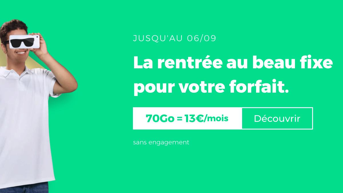 Offres exclusives de la rentrée RED by SFR avec le forfait 70 Go