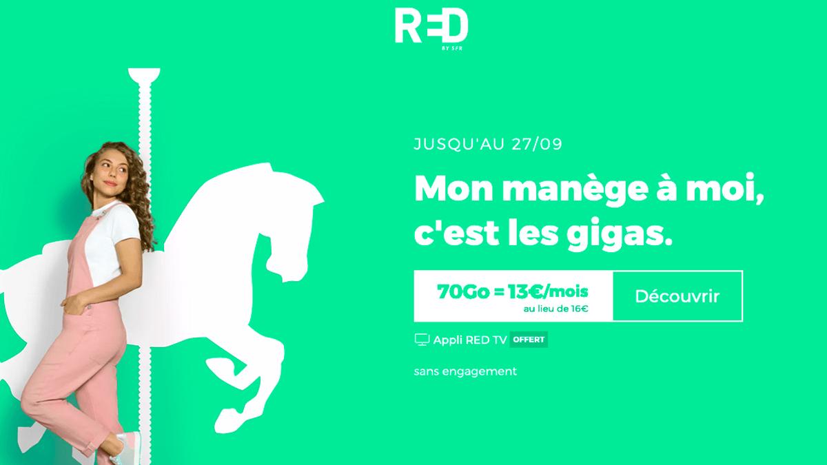 Le forfait mobile 70 Go de RED by SFR
