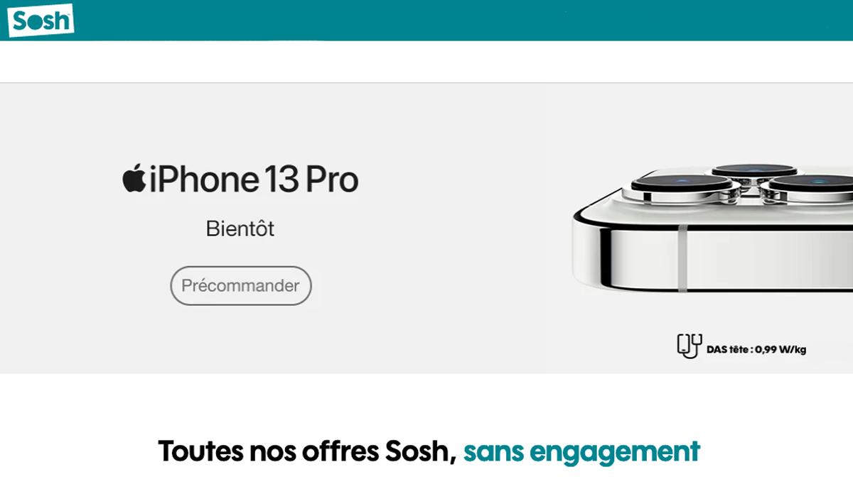 Sosh propose ses iPhone 13 et 13 Pro en précommande