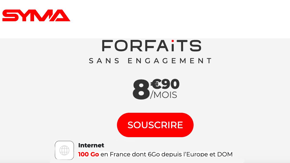 Le forfait mobile pas cher de Syma, 8€90 sans engagement