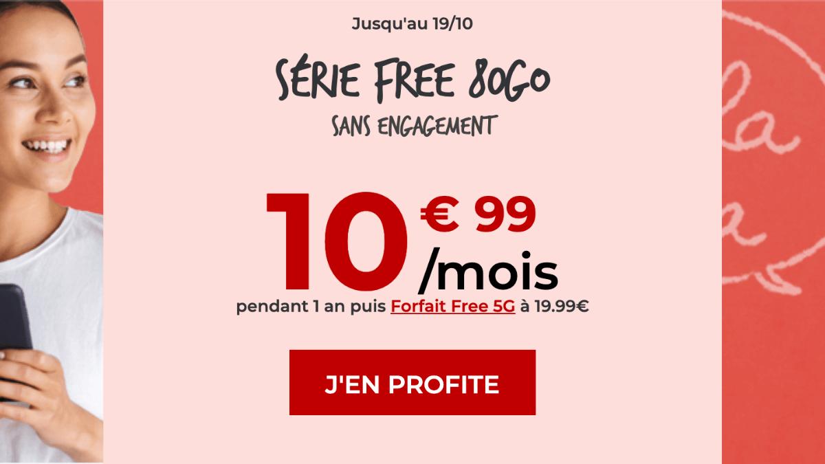 Forfait pas cher Série Free 80 Go en promotion