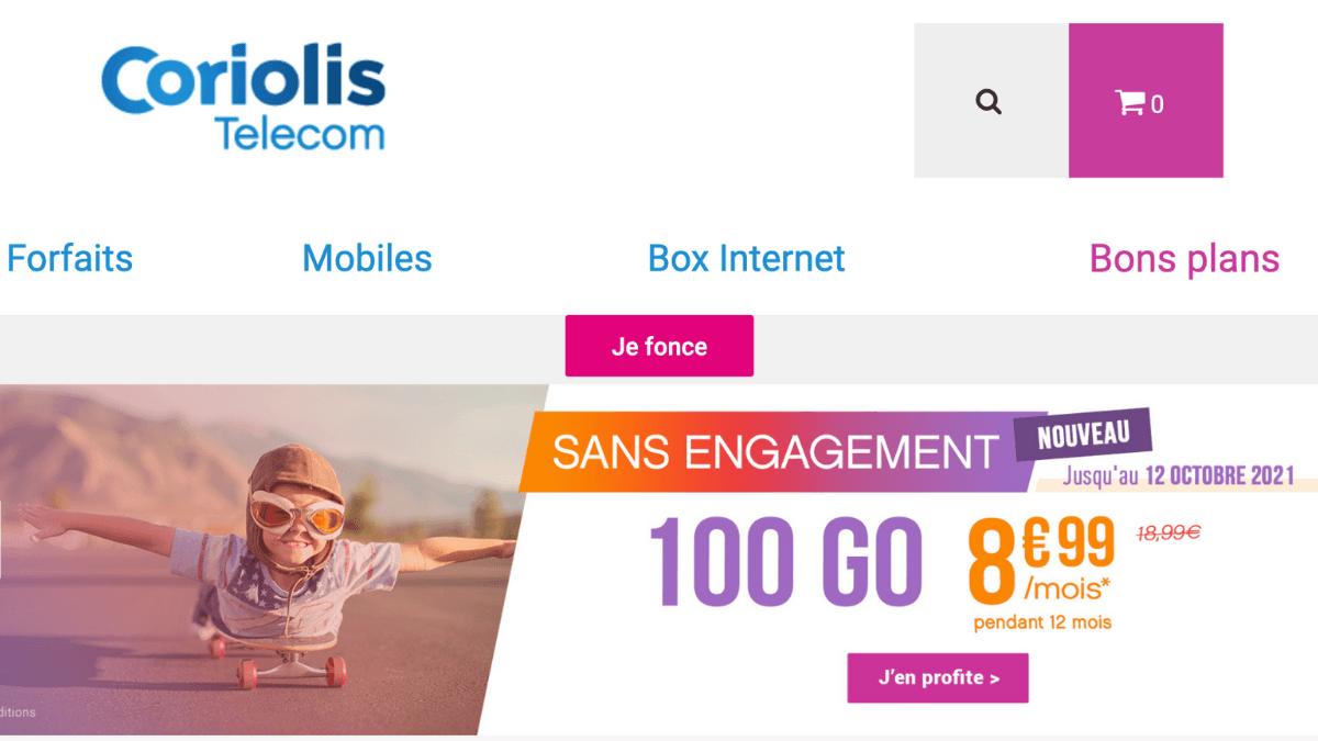 Promotion sur le forfait 100 Go de Coriolis Telecom