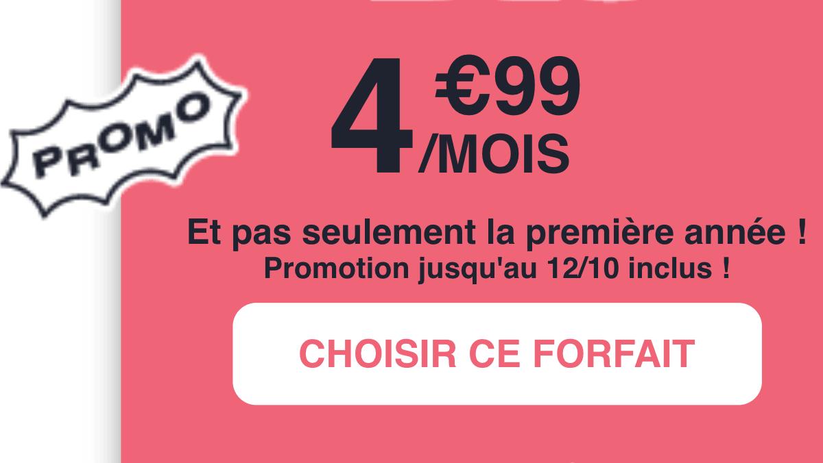 Forfait à moins de 5€ NRJ Mobile