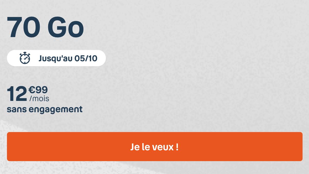 seulement 12€ pour le bon plan du forfait 70 Go